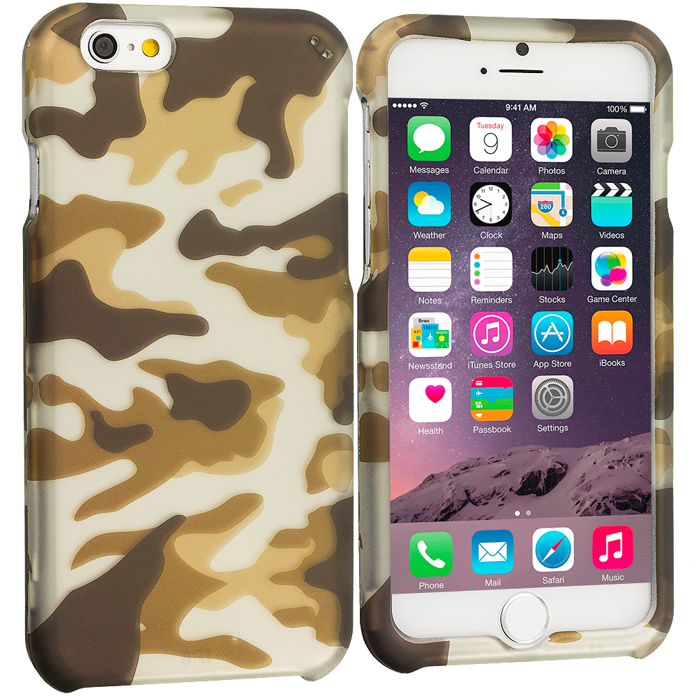 Apple iPhone 6 Plus Camo 2D Hard Rubberized Design Case Cover