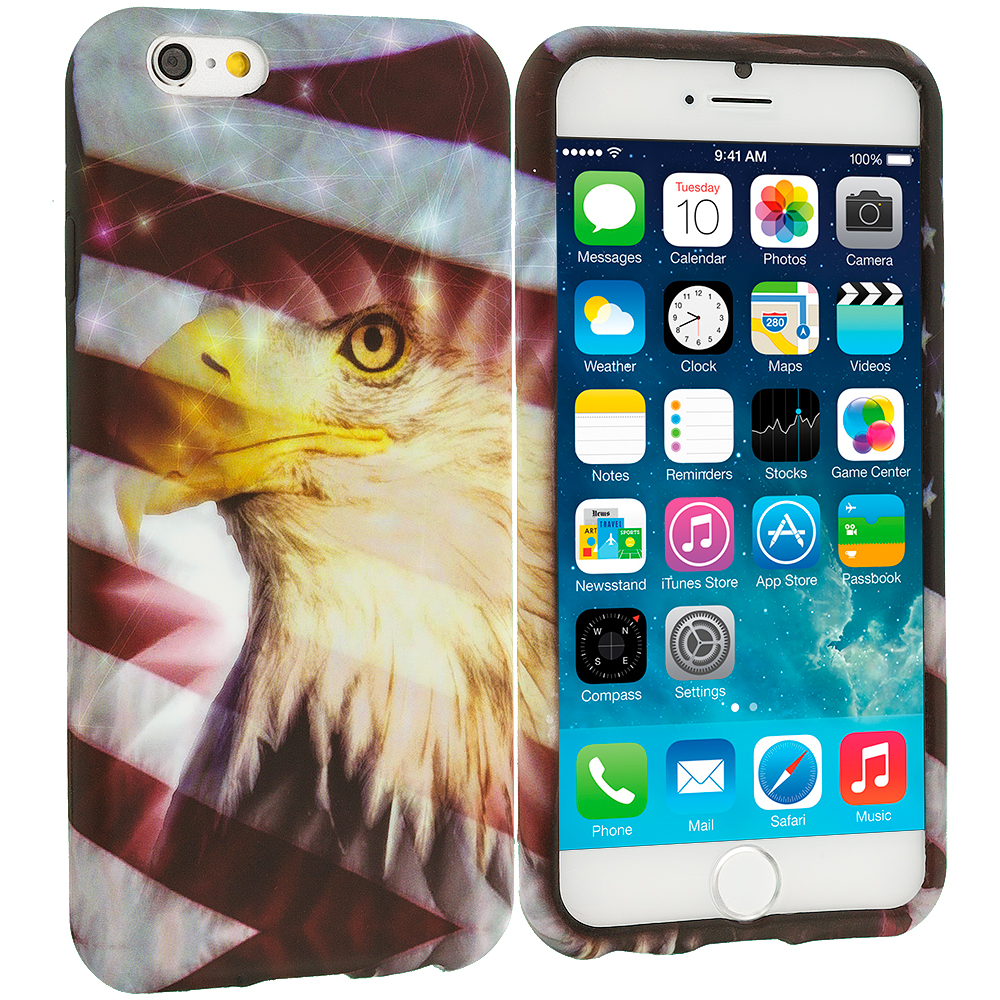 Apple iPhone 6 Plus 6S Plus (5.5) USA Eagle TPU Design Soft Rubber Case Cover