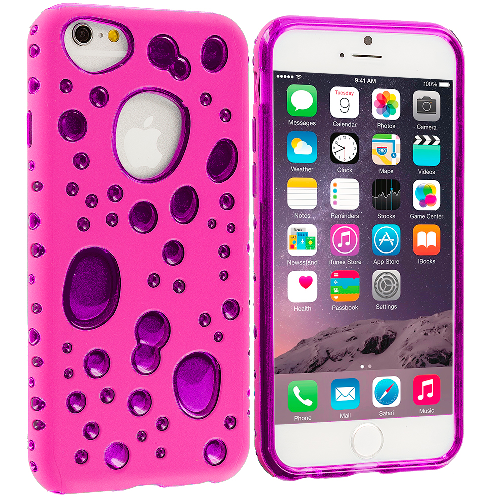 Apple iPhone 6 6S (4.7) Hot Pink / Purple Hybrid Bubble Hard/Soft Skin Case Cover