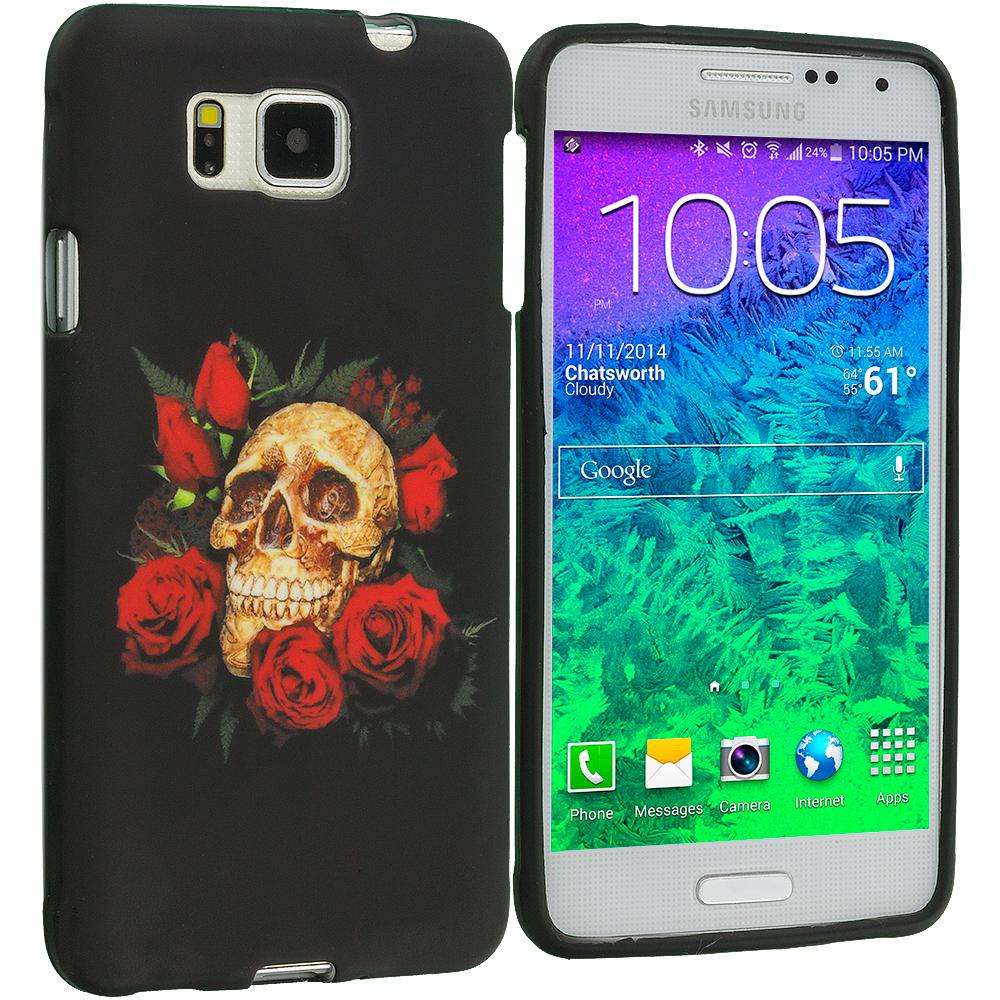 Samsung Galaxy Alpha G850 Red Rose Skull TPU Design Soft Rubber Case Cover