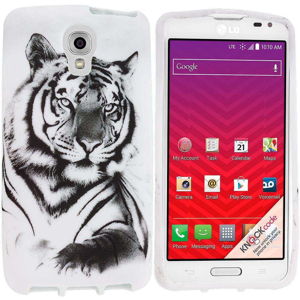 LG Volt LS740 White Tiger TPU Design Soft Rubber Case Cover
