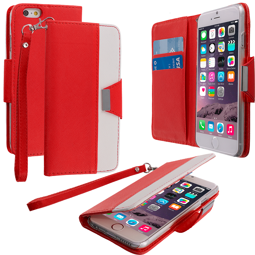 Apple iPhone 6 Plus 6S Plus (5.5) Red Wallet Magnetic Metal Flap Case Cover With Card Slots
