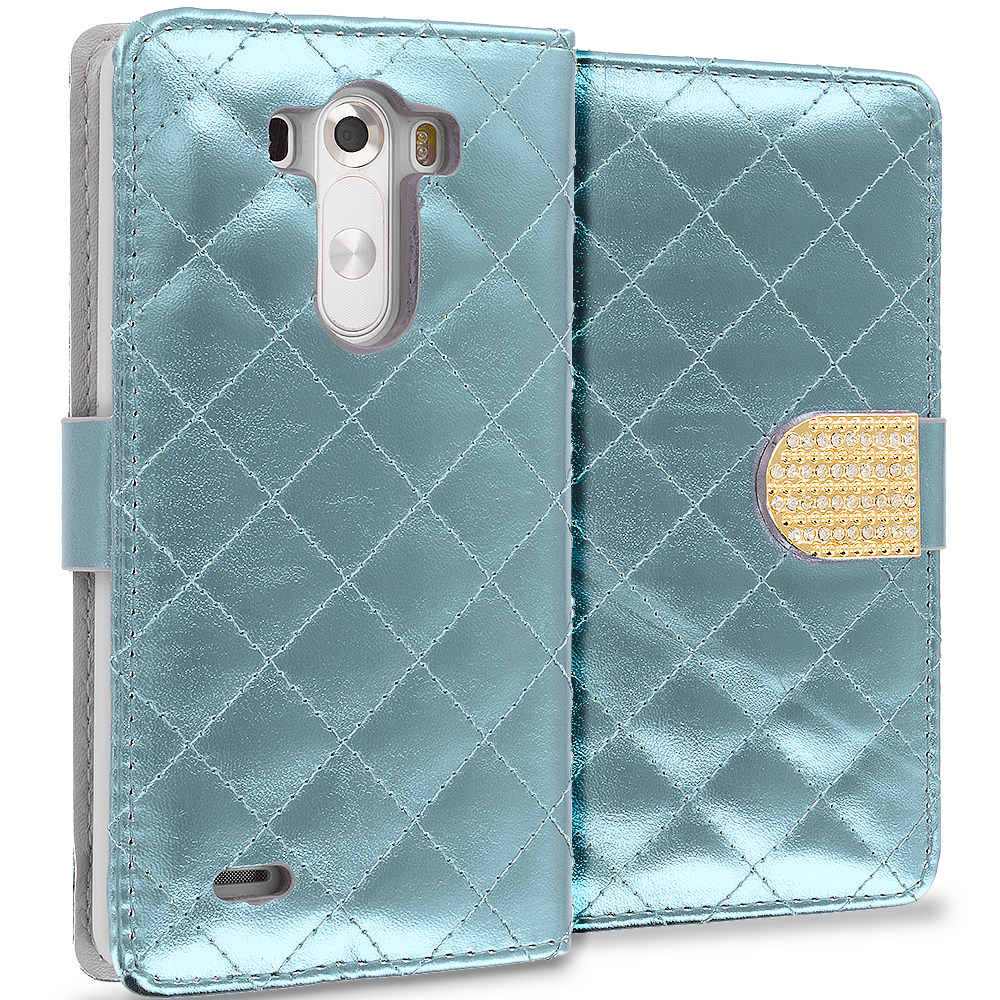 LG G3 White Luxury Wallet Diamond Design Case Cover With Slots