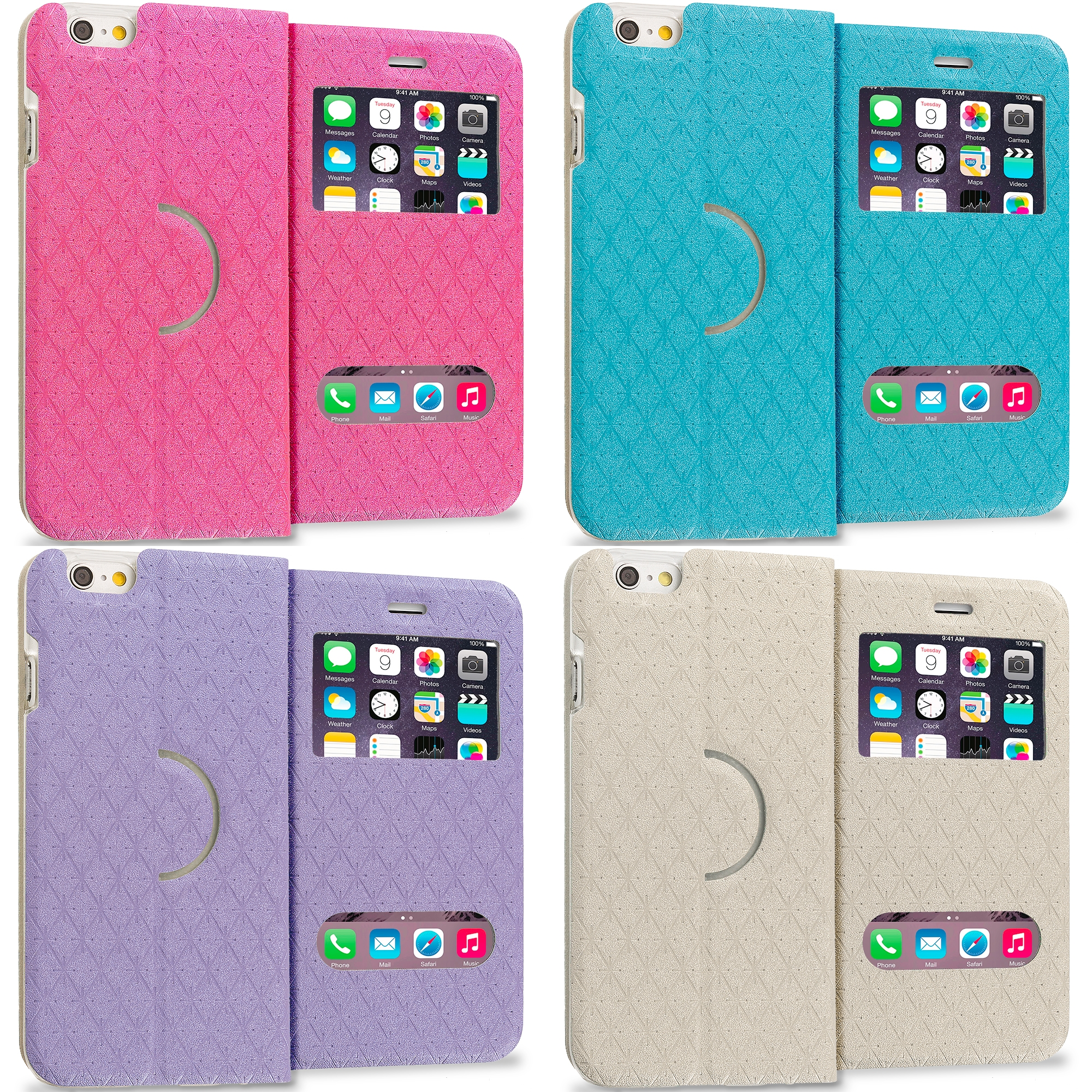 Apple iPhone 6 6S (4.7) 4 in 1 Combo Bundle Pack - Slim Hard Wallet Flip Case Cover With Double Window