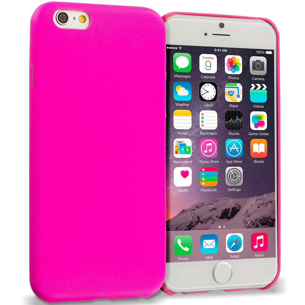 Apple iPhone 6 6S (4.7) 3 in 1 Combo Bundle Pack - Premium Leather TPU Slim Case Cover : Color Hot Pink