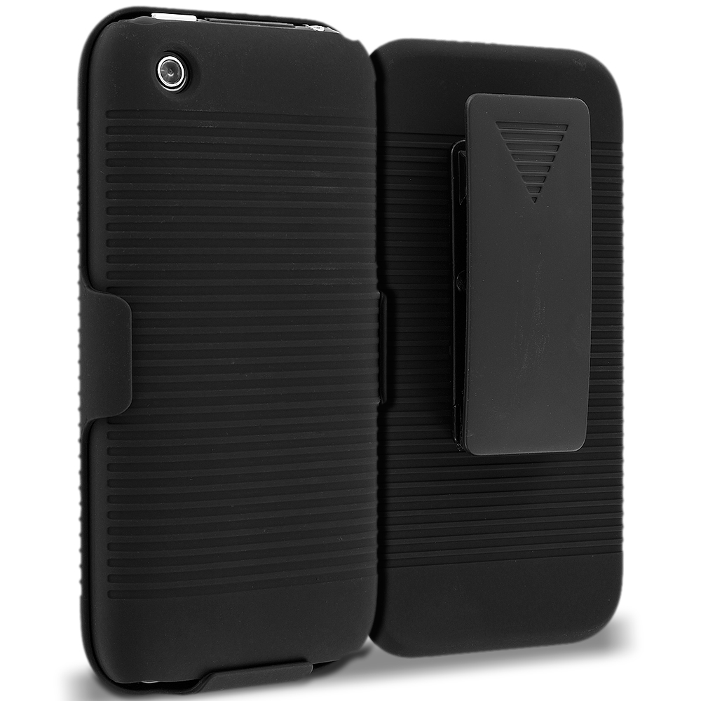 Apple iPhone 3G / 3GS Black Belt Clip Holster Hard Case Cover