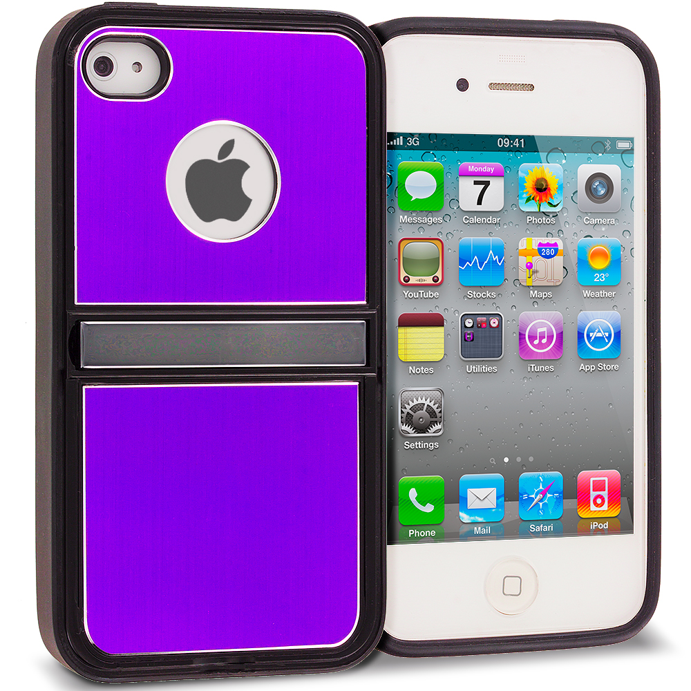 Apple iPhone 4 / 4S Purple Brushed Stand Aluminum Metal Hard Case Cover
