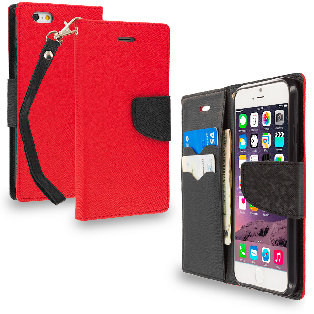 Apple iPhone 6 6S (4.7) Red / Black Leather Flip Wallet Pouch TPU Case Cover with ID Card Slots