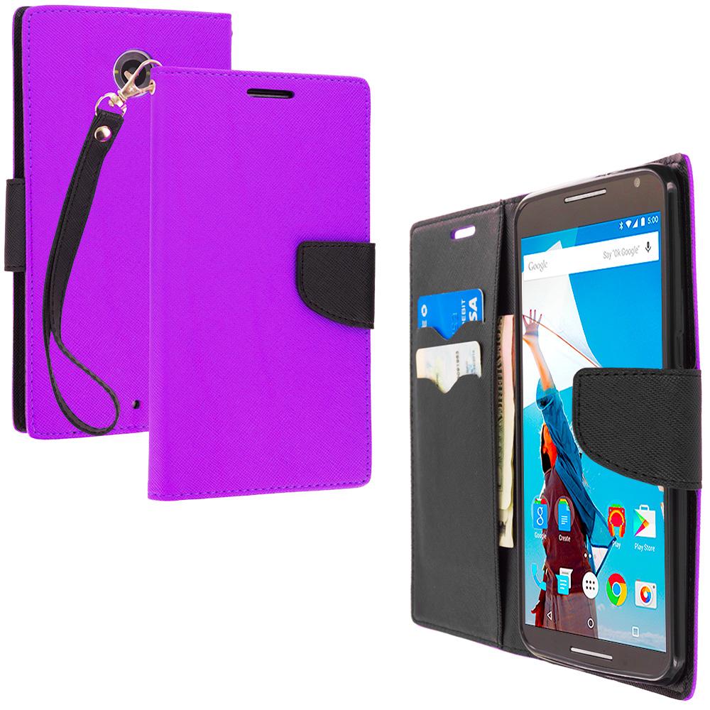 Motorola Google Nexus 6 Purple / Black Leather Flip Wallet Pouch TPU Case Cover with ID Card Slots