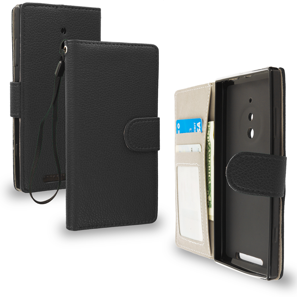 Nokia Lumia 830 Black Leather Wallet Pouch Case Cover with Slots
