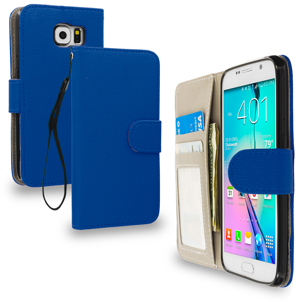 Samsung Galaxy S6 2 in 1 Combo Bundle Pack - Crocodile Leather Wallet Pouch Case Cover with Slots : Color Blue