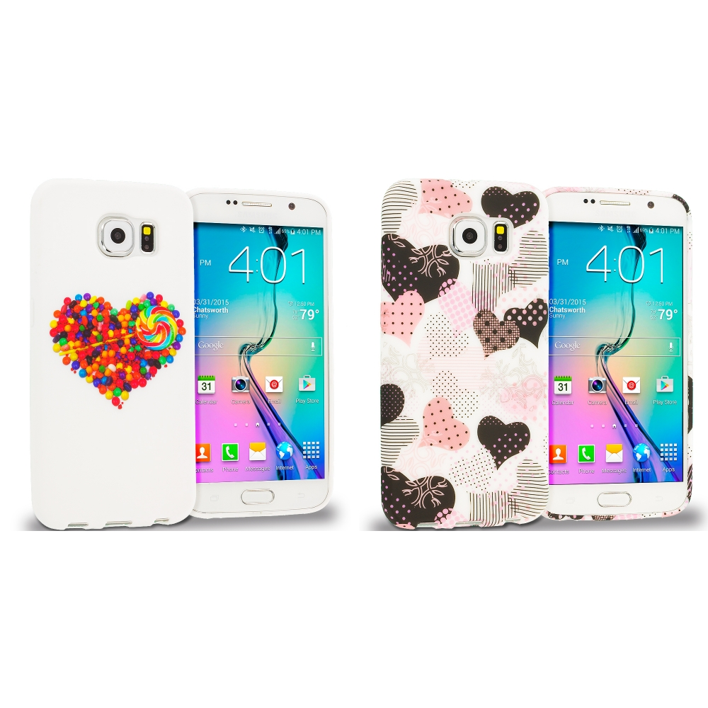 Samsung Galaxy S6 Combo Pack : Candy Hearts TPU Design Soft Rubber Case Cover