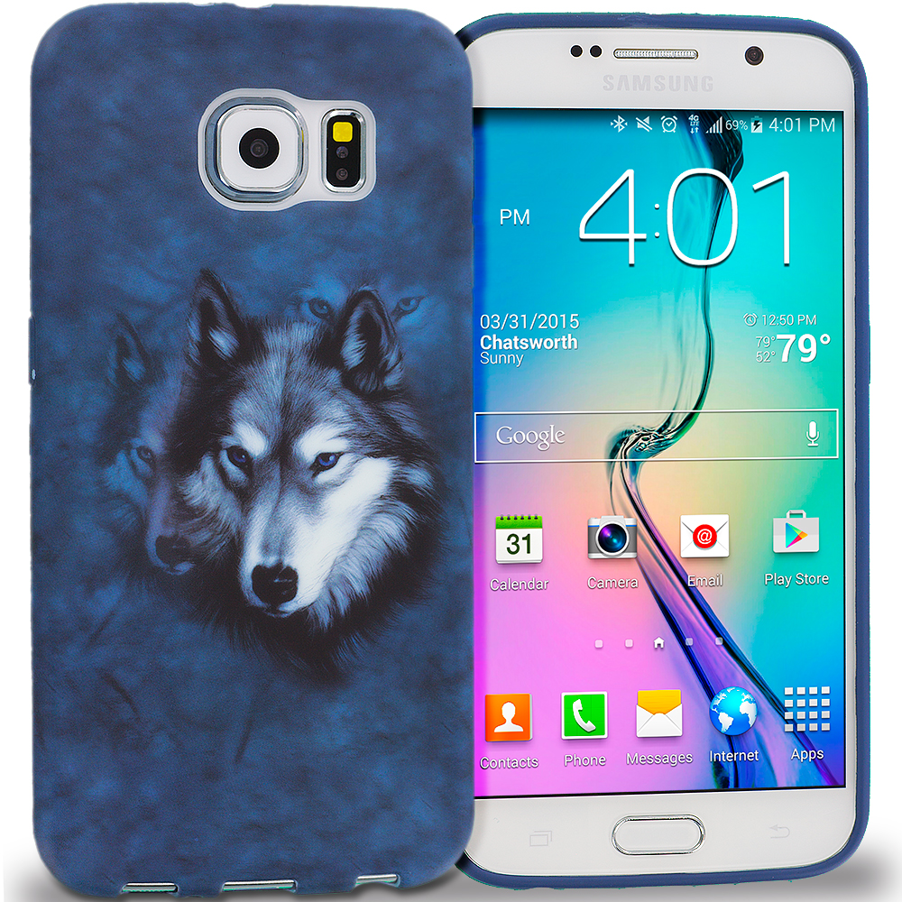 Samsung Galaxy S6 Combo Pack : Tiger TPU Design Soft Rubber Case Cover : Color Wolf
