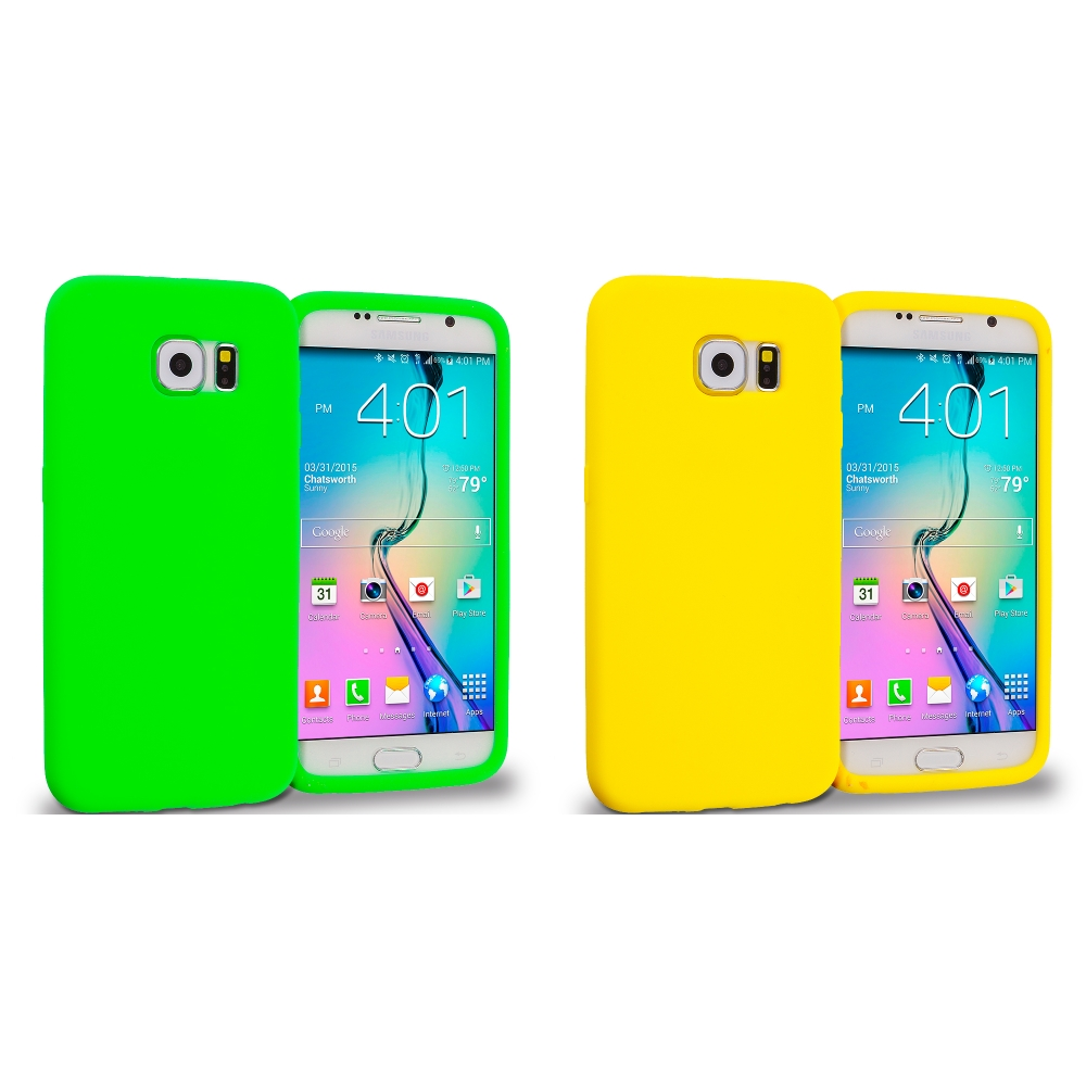 Samsung Galaxy S6 Combo Pack : Neon Green Silicone Soft Skin Rubber Case Cover