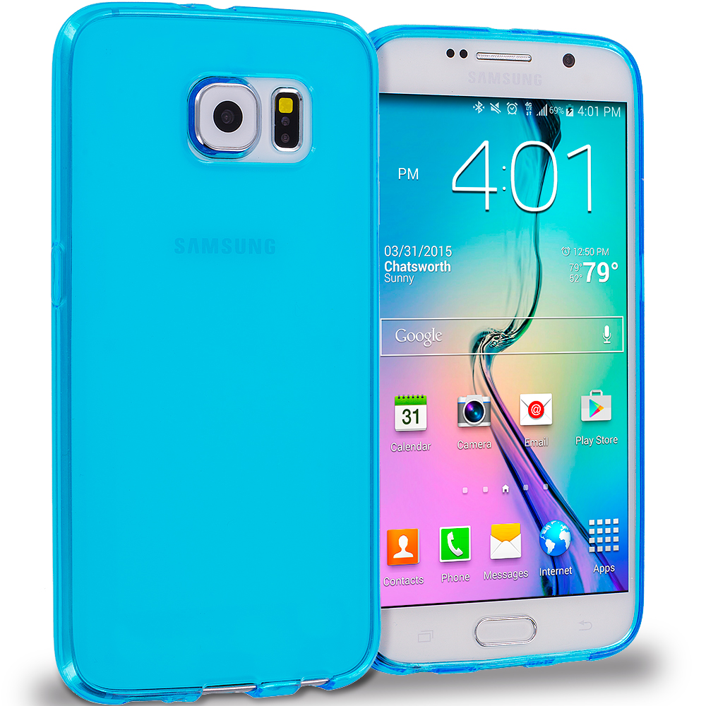 Samsung Galaxy S6 11 in 1 Combo Bundle Pack - Baby Blue Plain TPU Rubber Skin Case Cover : Color Baby Blue Plain