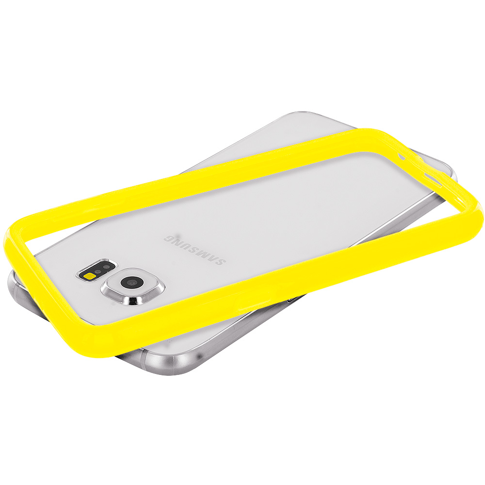 Samsung Galaxy S6 Combo Pack : Yellow TPU Bumper Frame Case Cover : Color Yellow
