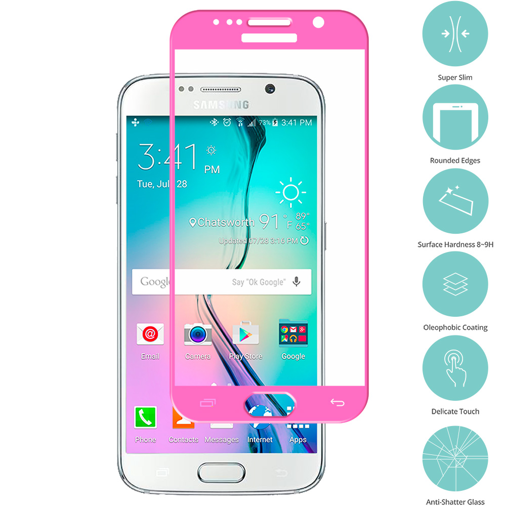 Samsung Galaxy S6 Hot Pink Tempered Glass Film Screen Protector Colored