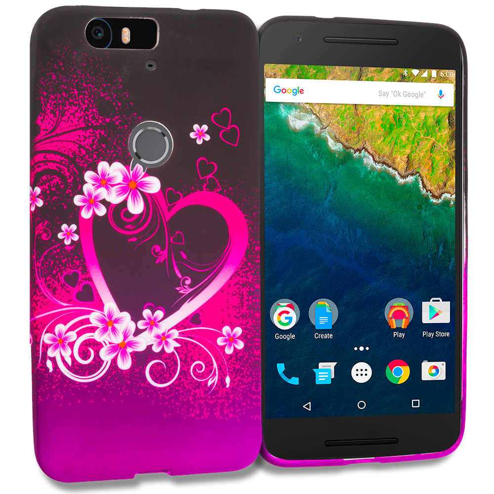 Huawei Google Nexus 6P Purple Love TPU Design Soft Rubber Case Cover