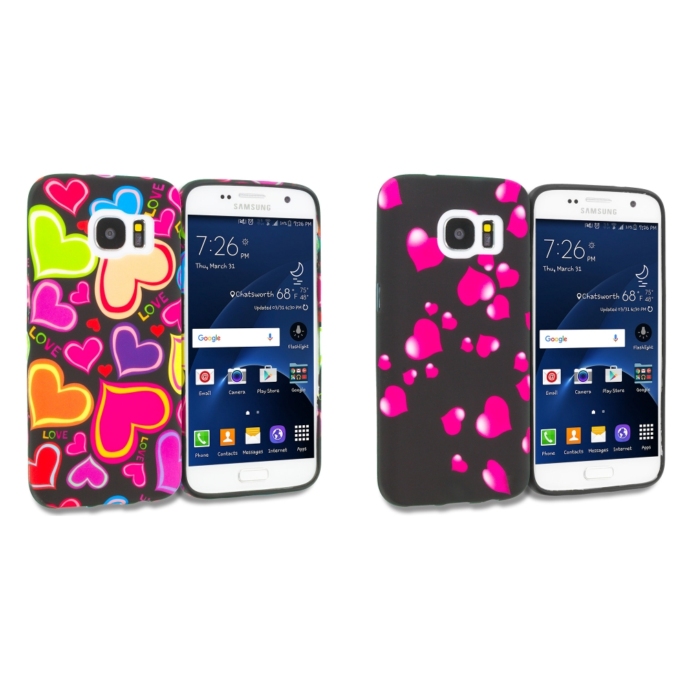 Samsung Galaxy S7 Combo Pack : Rainbow Hearts Black TPU Design Soft Rubber Case Cover