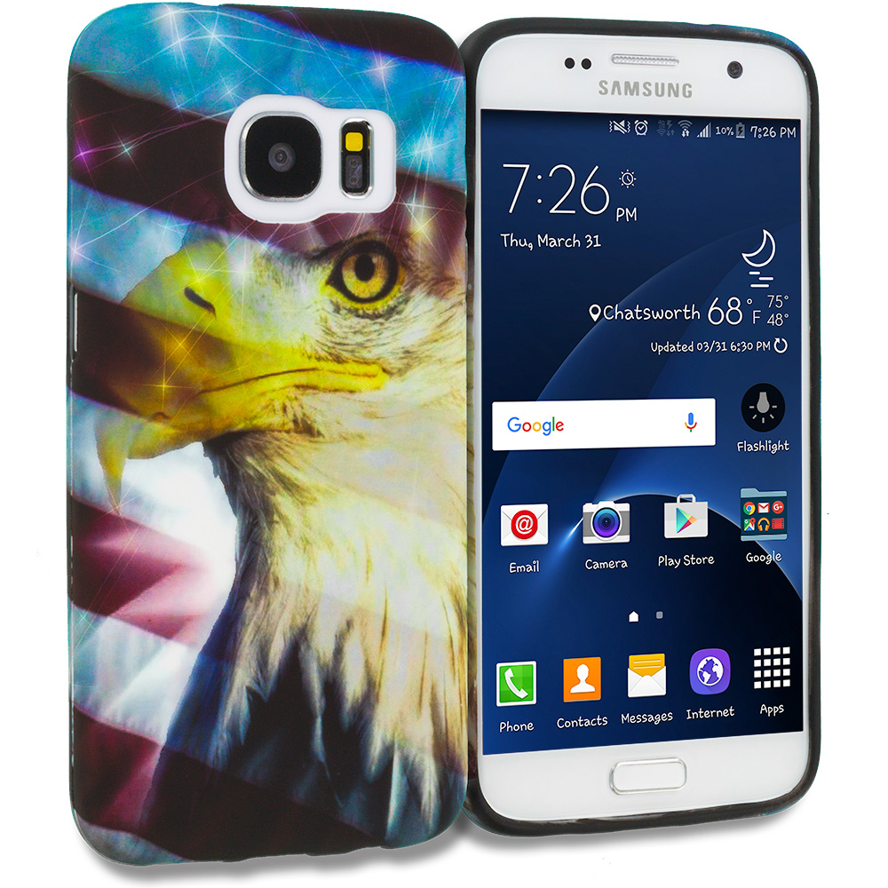 Samsung Galaxy S7 Combo Pack : USA Eagle TPU Design Soft Rubber Case Cover : Color USA Eagle