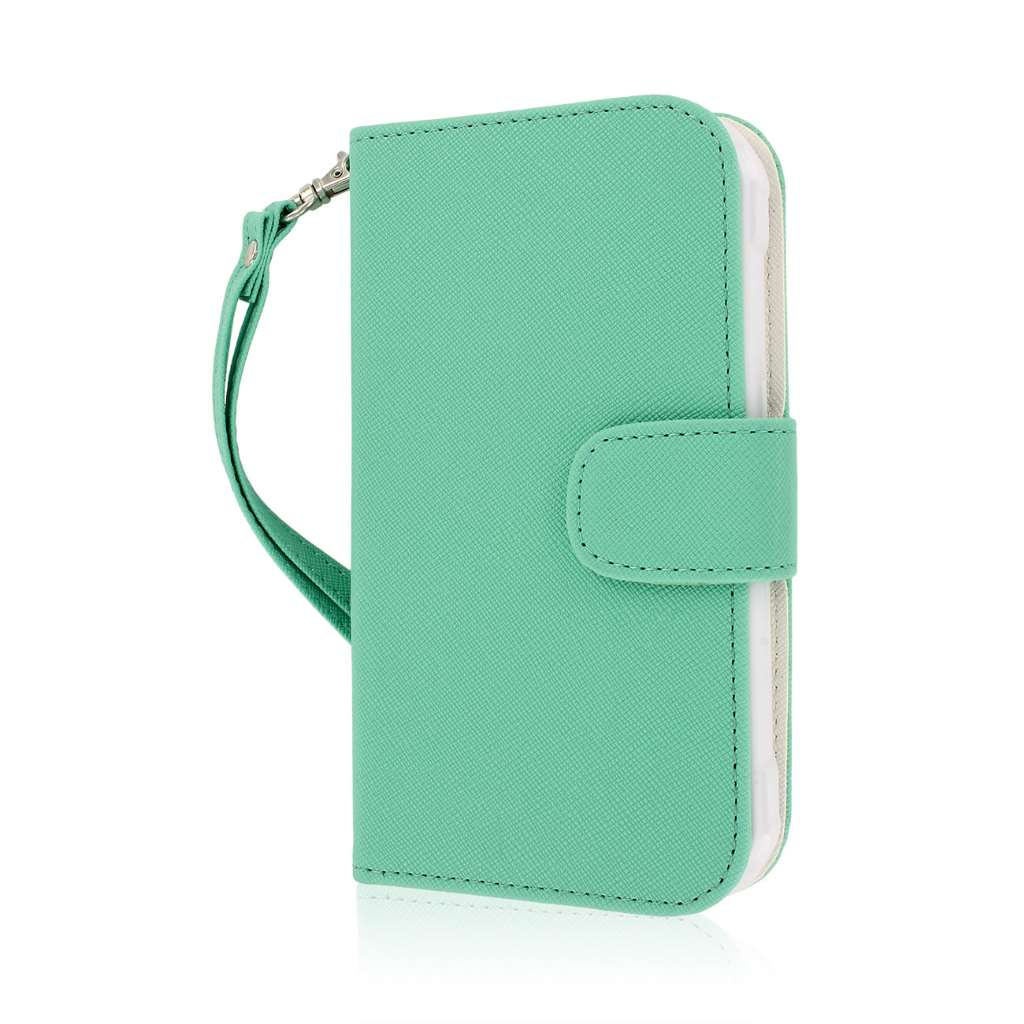 Samsung Galaxy S5 Active - Mint MPERO FLEX FLIP Wallet Case Cover