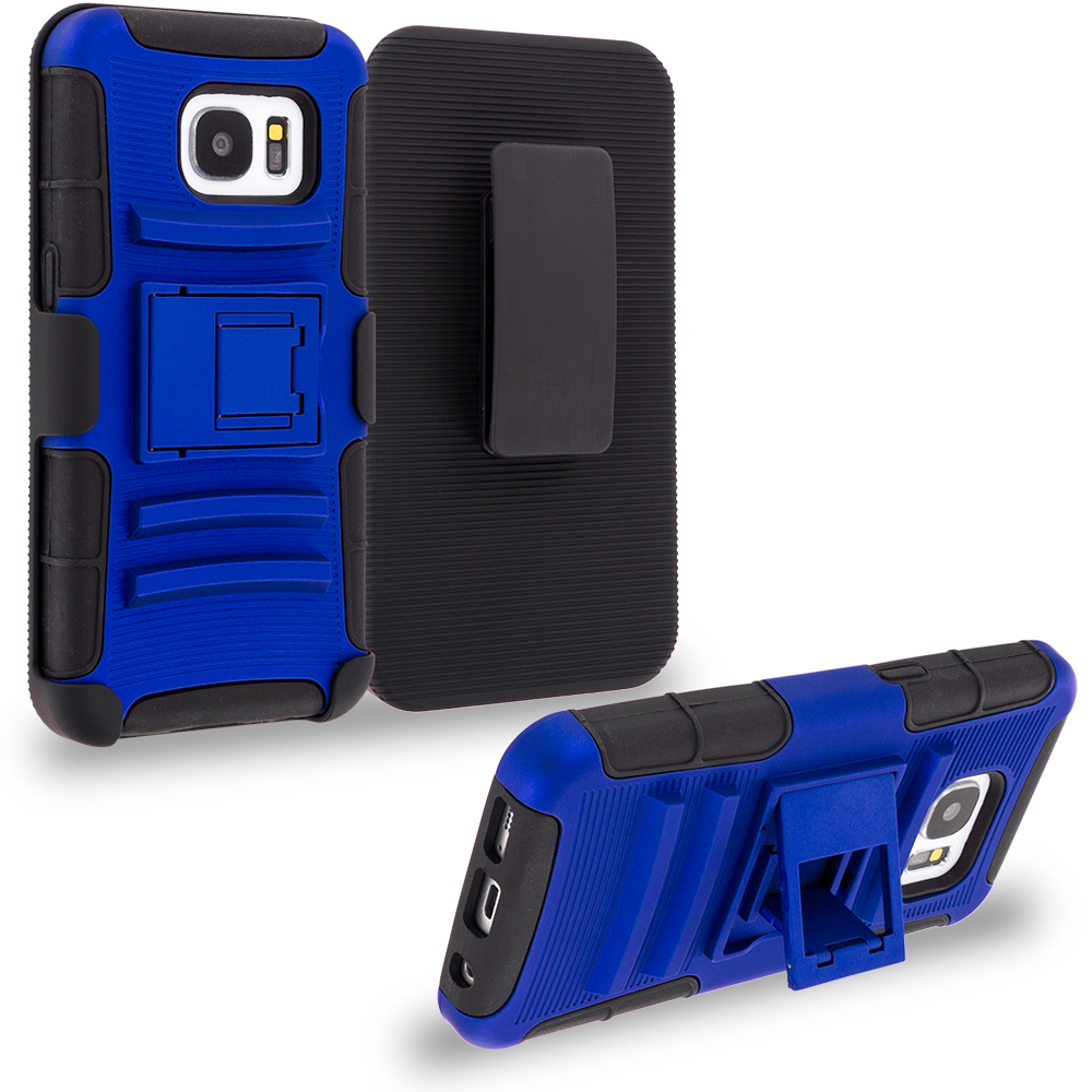 Samsung Galaxy S7 Edge Blue Hybrid Heavy Duty Rugged Case Cover with Belt Clip Holster