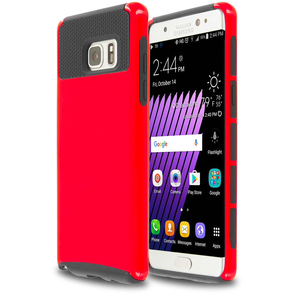 Samsung Galaxy Note 7 Red / Black Hybrid Hard TPU Honeycomb Rugged Case Cover