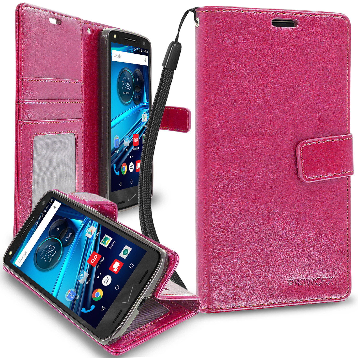 Motorola Droid Turbo 2 Hot Pink ProWorx Wallet Case Luxury PU Leather Case Cover With Card Slots & Stand