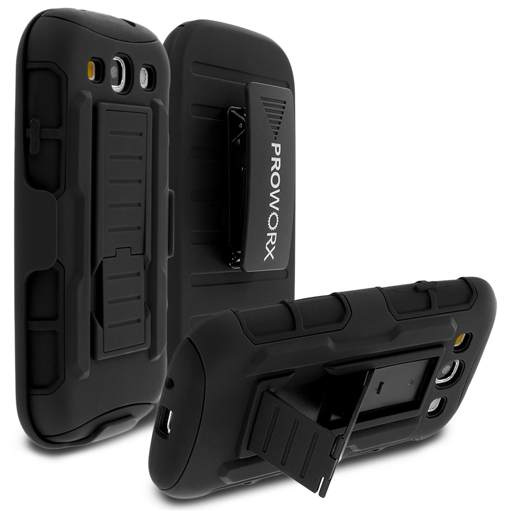 Samsung Galaxy S3 Black ProWorx Heavy Duty Shock Absorption Armor Defender Holster Case Cover With Belt Clip