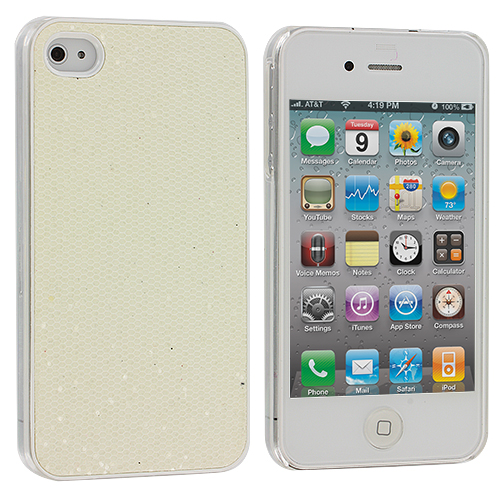 Apple iPhone 4 / 4S White Glitter Case Cover