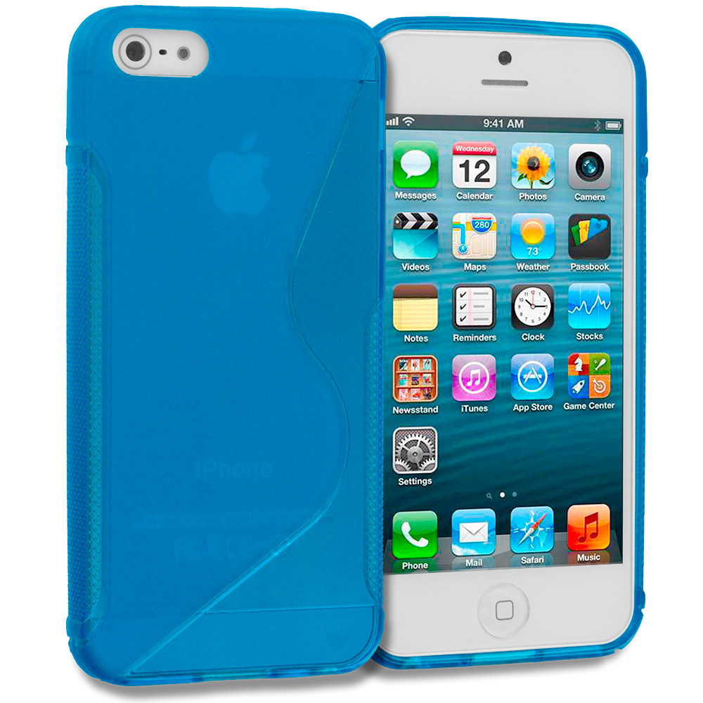Apple iPhone 5/5S/SE Combo Pack : Baby Blue S-Line TPU Rubber Skin Case Cover : Color Baby Blue S-Line