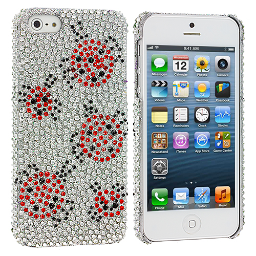 Apple iPhone 5/5S/SE Combo Pack : Lady Bug Bling Rhinestone Case Cover : Color Lady Bug