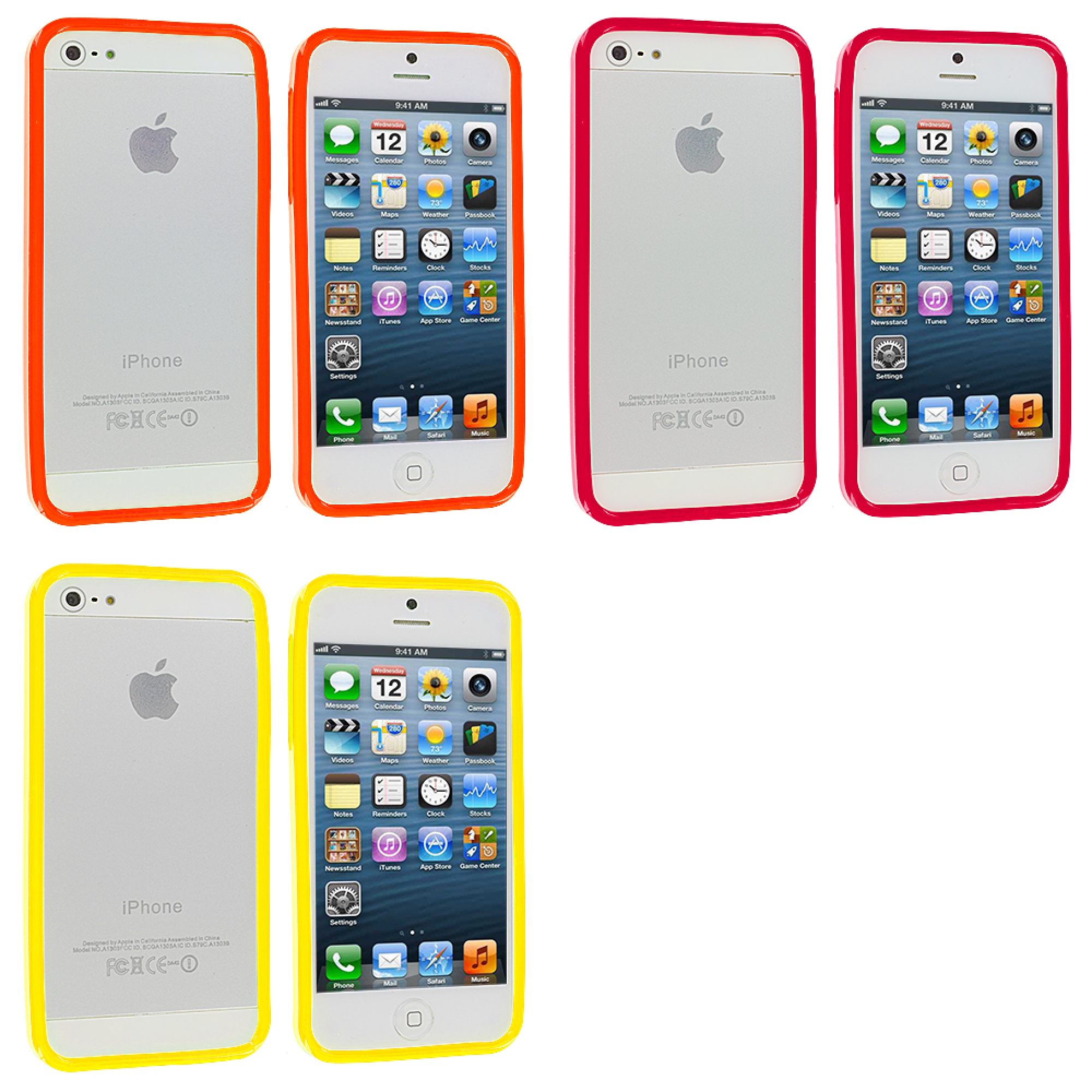 Apple iPhone 5/5S/SE Combo Pack : Red Solid TPU Bumper