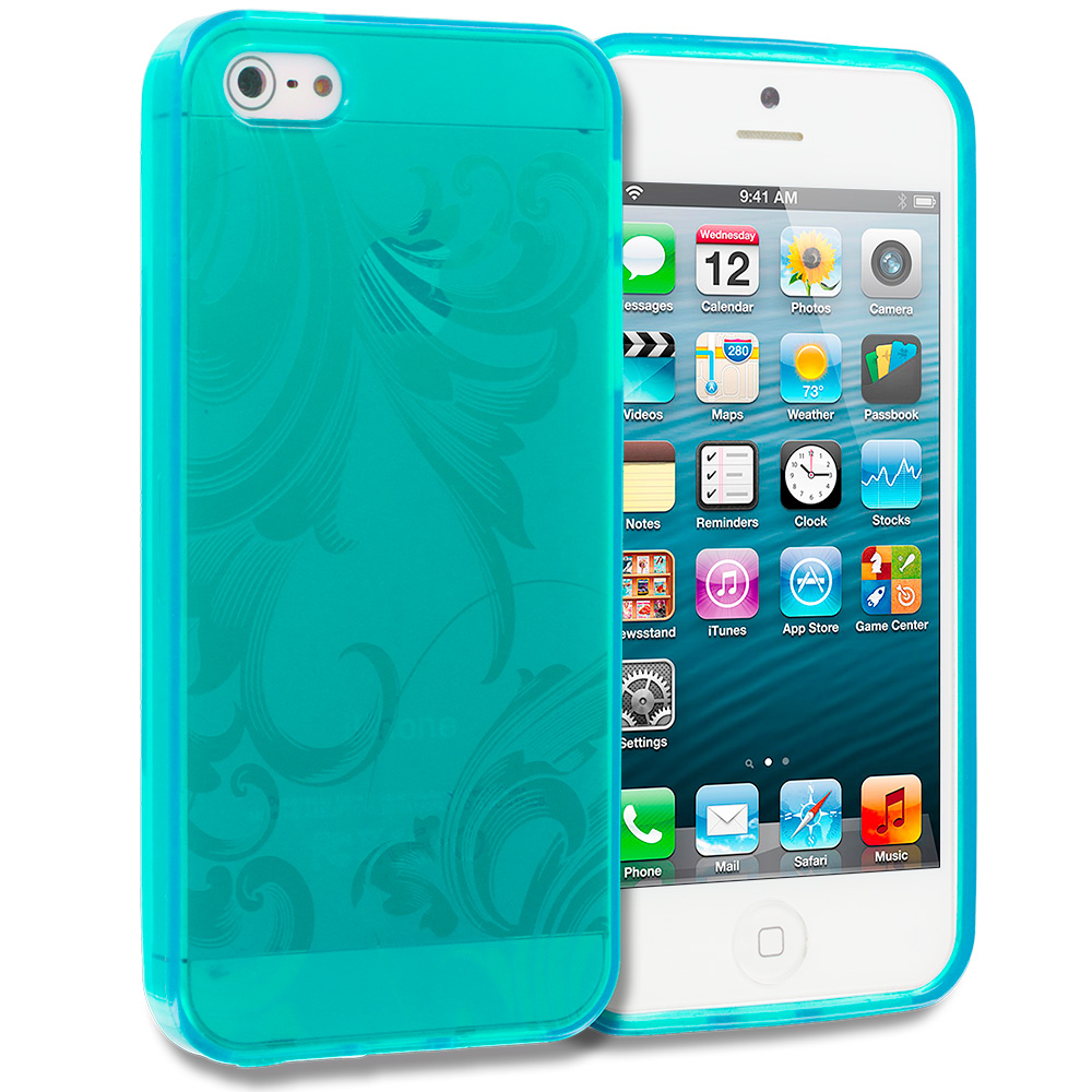 Apple iPhone 5/5S/SE Baby Blue Floral TPU Rubber Skin Case Cover