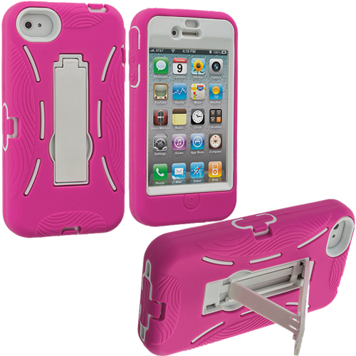 Apple iPhone 4 / 4S Hot Pink / White Hybrid Heavy Duty Hard/Soft Case Cover with Stand