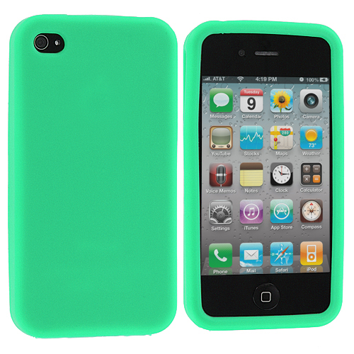 Apple iPhone 4 Mint Green Silicone Soft Skin Case Cover