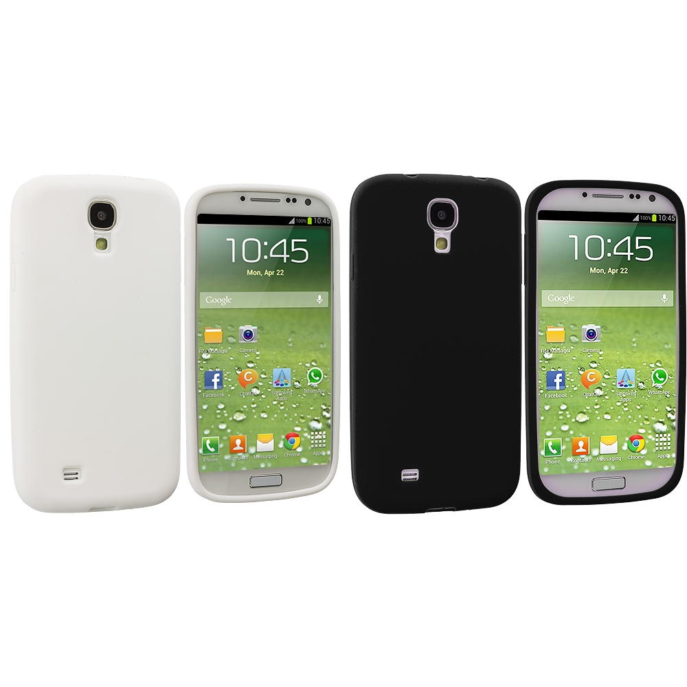 Samsung Galaxy S4 2 in 1 Combo Bundle Pack - White Black Silicone Soft Skin Case Cover