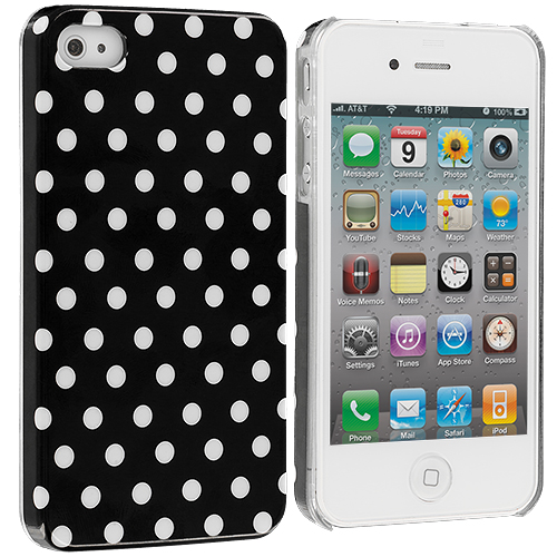 Apple iPhone 4 / 4S Polka Dot Hard Rubberized Back Cover Case