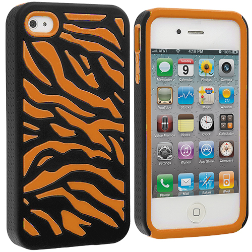 Apple iPhone 4 / 4S Orange / Black Hybrid Zebra Hard/Soft Case Cover