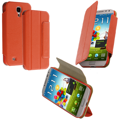 Samsung Galaxy S4 Orange Tri-Fold Leather Wallet Case Cover Pouch