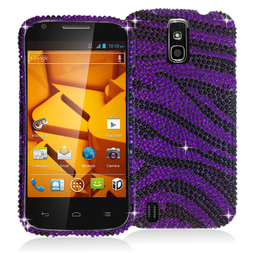 ZTE Force N9100 Black / Purple Zebra Bling Rhinestone Case Cover