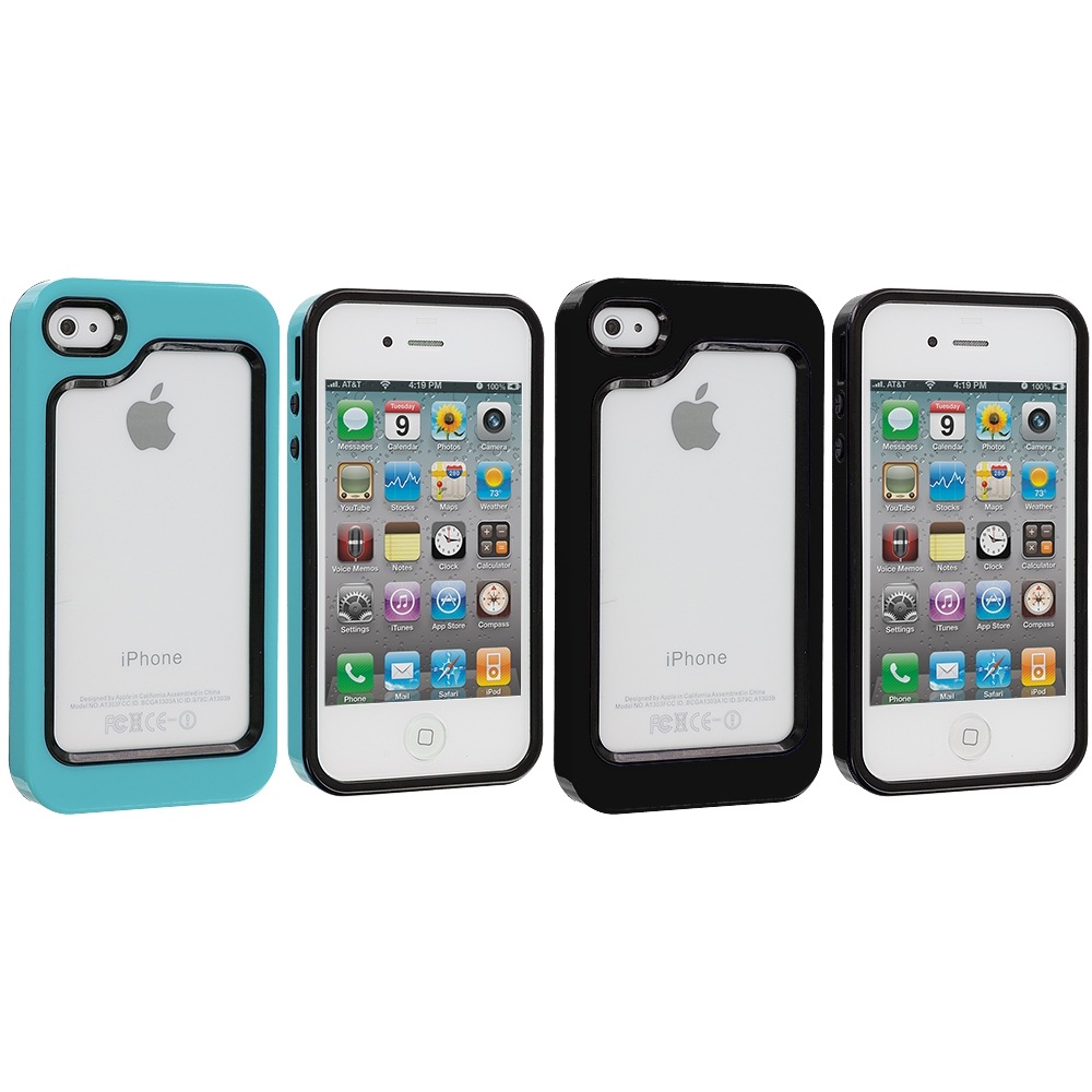 Apple iPhone 4 / 4S 2 in 1 Combo Bundle Pack - Black / Baby Blue Hybrid TPU Bumper Case Cover