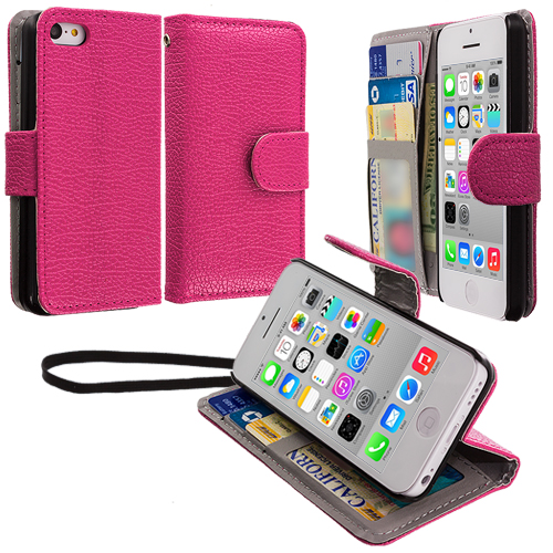 Apple iPhone 5C Hot Pink Leather Wallet Pouch Case Cover with Slots