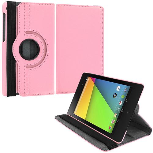 Asus Google Nexus 7 II Pink 360 Rotating Leather Pouch Case Cover Stand