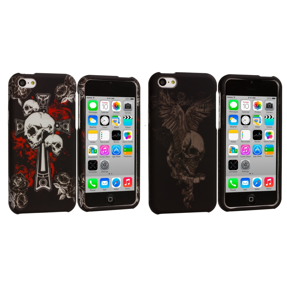 Apple iPhone 5C 2 in 1 Combo Bundle Pack - Skull Hard Rubberized Design Case Cover