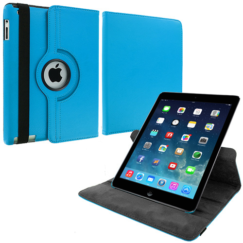 Apple iPad Air Sky Blue 360 Rotating Leather Pouch Case Cover Stand