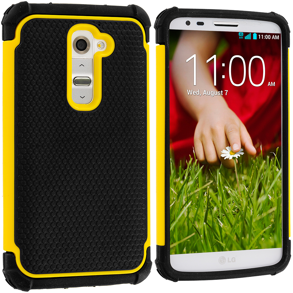 LG G2 Sprint, T-Mobile, At&t Black / Yellow Hybrid Rugged Hard/Soft Case Cover