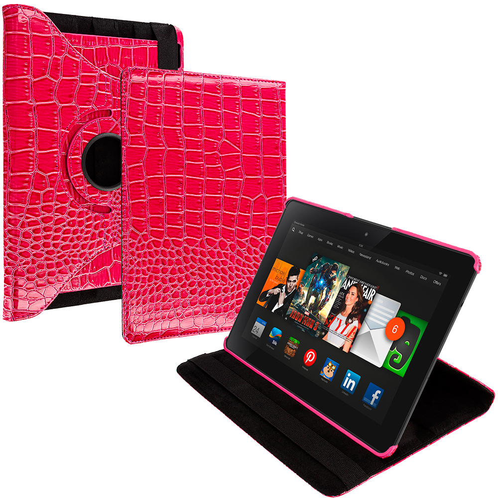 Amazon Kindle Fire HDX 8.9 Pink Crocodile 360 Rotating Leather Pouch Case Cover Stand