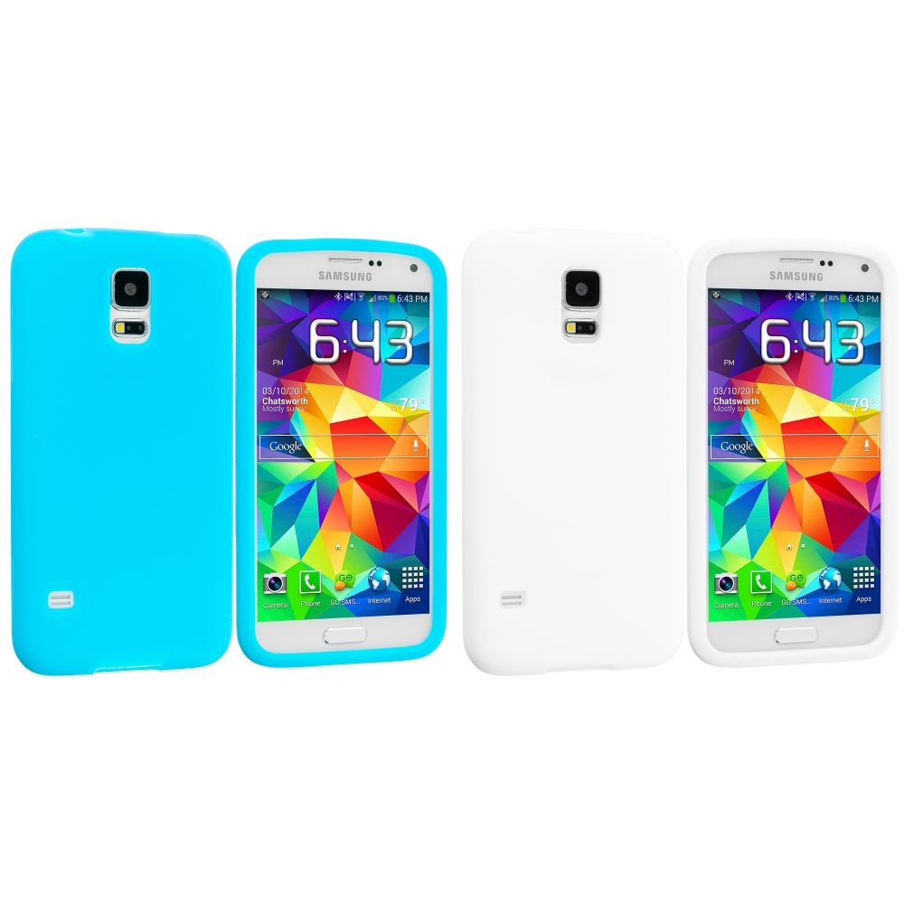 Samsung Galaxy S5 2 in 1 Combo Bundle Pack - White Baby Blue Silicone Soft Skin Case Cover