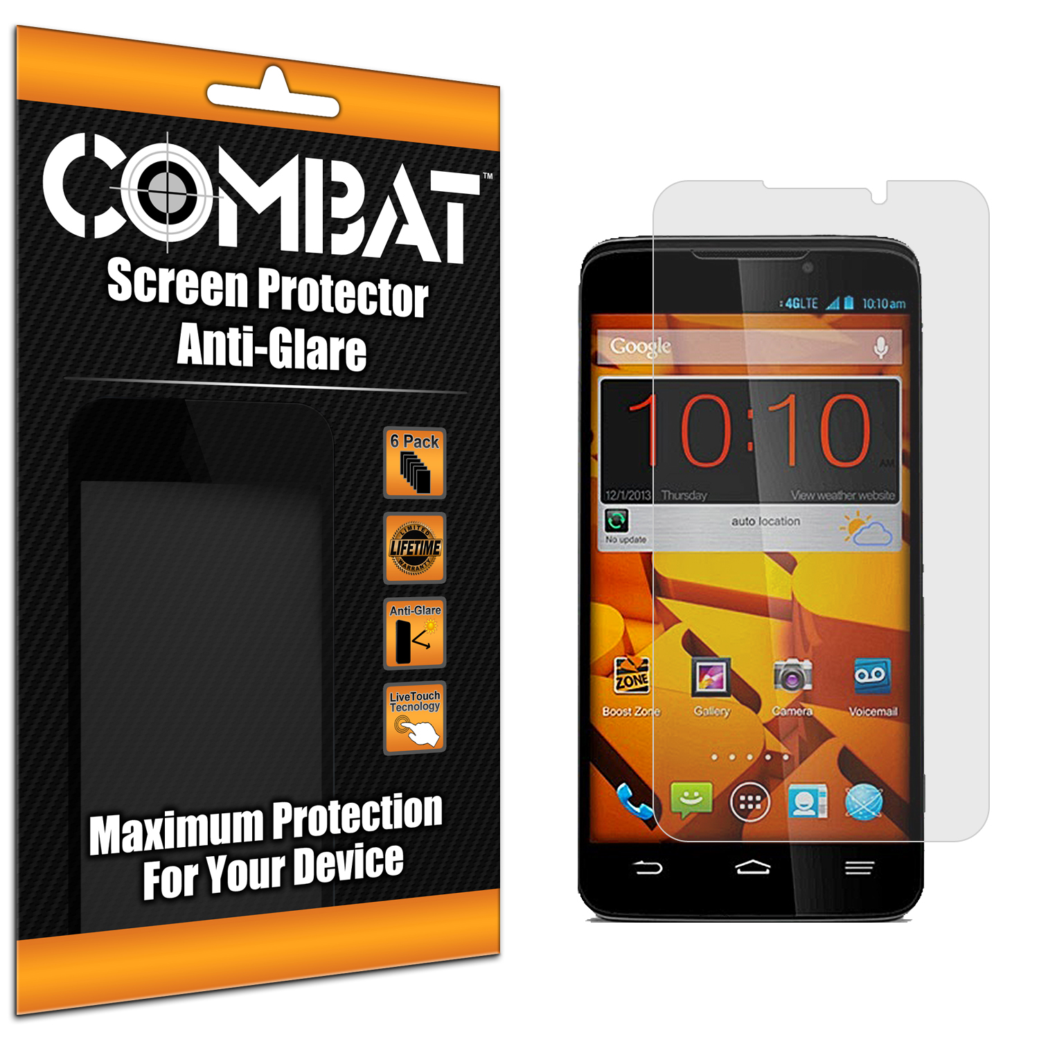 ZTE Boost Mobile Max N9520 Combat 6 Pack Anti-Glare Matte Screen Protector